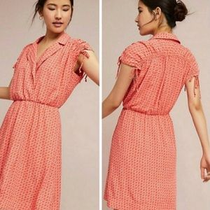 Maeve Orange Carlotta Ruched Shirt Midi Dress